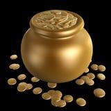Monete di oro in vaso illustrazione di stock