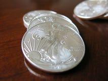 Monete di Silover Fotografie Stock Libere da Diritti