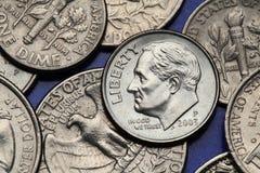 Monete di U.S.A. Moneta da dieci centesimi di dollaro degli Stati Uniti Franklin D roosevelt Fotografie Stock