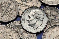 Monete di U.S.A. Moneta da dieci centesimi di dollaro degli Stati Uniti Franklin D roosevelt Fotografia Stock
