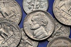 Monete di U.S.A. Nichel degli Stati Uniti, Thomas Jefferson Fotografia Stock