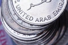 Monete di valuta degli Emirati Arabi Uniti Fotografia Stock