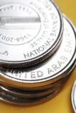 Monete di valuta degli Emirati Arabi Uniti Immagini Stock Libere da Diritti