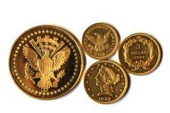 Monete di vecchio oro dell'America Fotografia Stock