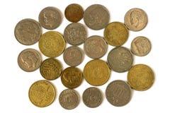 Monete differenti di vecchia dracma greca Assortimento delle monete di sopra Fotografia Stock