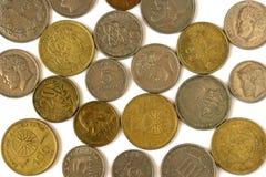 Monete differenti di vecchia dracma greca Assortimento delle monete di sopra Fotografie Stock