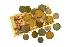Monete differenti di vecchia dracma greca Assortimento delle monete di sopra Fotografie Stock Libere da Diritti