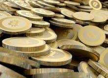 Monete digitali di valuta della crittografia dorata di Bitcoin Fotografie Stock Libere da Diritti
