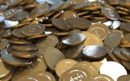 Monete digitali di valuta della crittografia dorata di Bitcoin Fotografia Stock