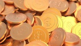 Monete digitali di valuta della crittografia dorata di Bitcoin Fotografia Stock Libera da Diritti