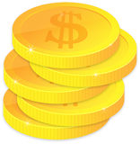 monete dorate Fotografie Stock