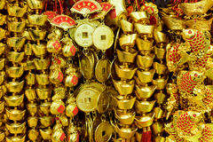 Monete dorate cinesi Immagini Stock
