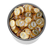 Monete dorate con il simbolo del dollaro Fotografia Stock