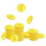 Monete dorate con il simbolo del dollaro Fotografia Stock Libera da Diritti