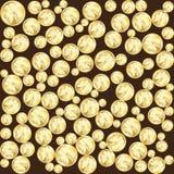 Monete dorate con le foglie del trifoglio Fondo del modello di vettore per il giorno della st Patricks Fotografia Stock