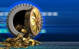 monete dorate 3d sopra cyber Immagine Stock Libera da Diritti