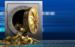 monete dorate 3d sopra cyber Immagine Stock