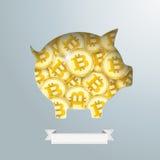 Monete dorate di Bitcoin del porcellino salvadanaio Fotografie Stock