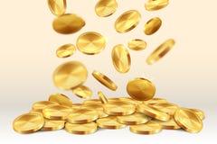 Monete dorate di caduta Tesoro di conquista del gioco realistico dell'oro di posta 3D del casinò della pioggia dei soldi Moneta d illustrazione vettoriale