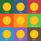 Monete dorate piane Icone di valuta Fotografie Stock
