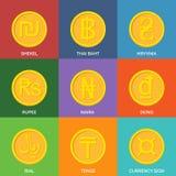Monete dorate piane Icone di valuta Fotografia Stock Libera da Diritti