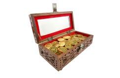 Monete dorate in un petto Fotografie Stock