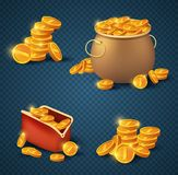 Monete dorate in vecchi vaso e borsa bronzei Fotografia Stock Libera da Diritti