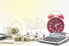 monete e banconota del dollaro, pianificazione aziendale di concetto e finanza fotografia stock