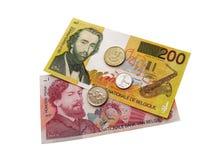 Monete e banconote belghe Fotografia Stock