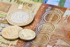 Monete e banconote del Kazakistan Immagine Stock Libera da Diritti