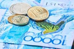 Monete e banconote del Kazakistan Fotografie Stock Libere da Diritti