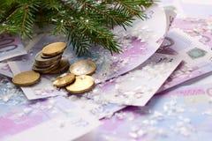 Monete e banconote dell'euro per il nuovo anno Fotografia Stock Libera da Diritti