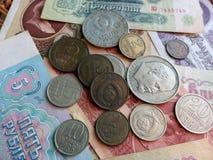 Monete e banconote dell'URSS accumulazione Fondo con i segni dei soldi Fotografia Stock Libera da Diritti