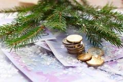 Monete e banconote di euro congratulazione del nuovo anno Immagini Stock