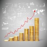 monete e business plan di oro 3d Immagini Stock Libere da Diritti