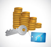 Monete e chiavi domestiche. progettazione dell'illustrazione Fotografie Stock