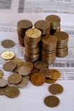Monete e conto Immagini Stock Libere da Diritti