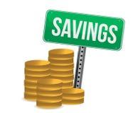 Monete e disegno dell'illustrazione del segno di risparmio Immagini Stock