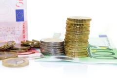 Monete e fatture europee Immagine Stock Libera da Diritti