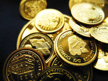 Monete e medaglie di oro Fotografie Stock Libere da Diritti