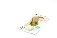 Monete e note inglesi Fotografia Stock Libera da Diritti