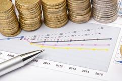 Monete e penna sopra il grafico Immagini Stock Libere da Diritti