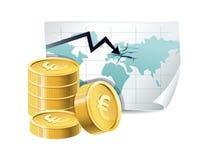 Monete e programma dorati con le crepe Immagine Stock