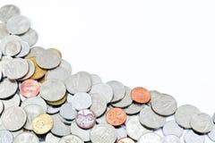 Monete e spazio della copia Fotografia Stock