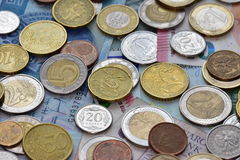 Monete EUR e PLN Immagini Stock Libere da Diritti