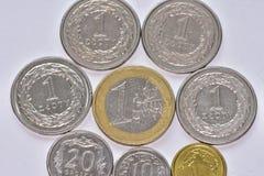 Monete EUR e PLN Fotografia Stock