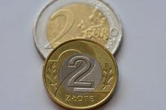 Monete EUR e PLN Fotografie Stock Libere da Diritti