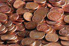 Monete europee con i centesimi dell'euro Immagine Stock