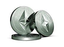 3 monete fisiche classiche di concetto di Ethereum ecc isolate su fondo bianco illustrazione di stock