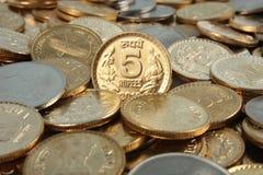 Monete indiane dei soldi di valuta Fotografia Stock